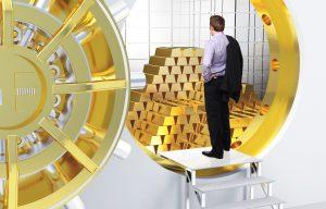 Man_Standing_at_Giant_Golden_Vault
